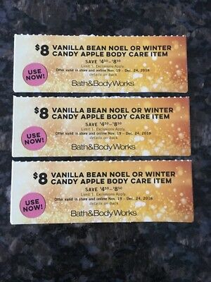 Lot 3 Bath & Body Works coupons $8 Vanilla Bean Noel or Winter Candy Apple Item
