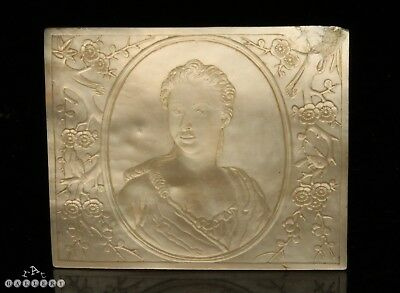 18th Century Chinese Cameo Carved Mother of Pearl European Lady Plaque