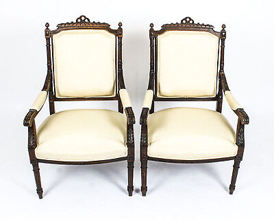 Antique Pair French Walnut Fauteuils Armchairs  c.1880