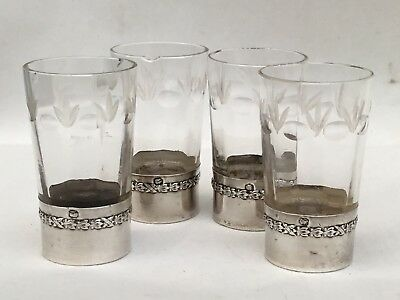 Set of 4 French Silver and Cut Glass Tots, c. 1900/1910