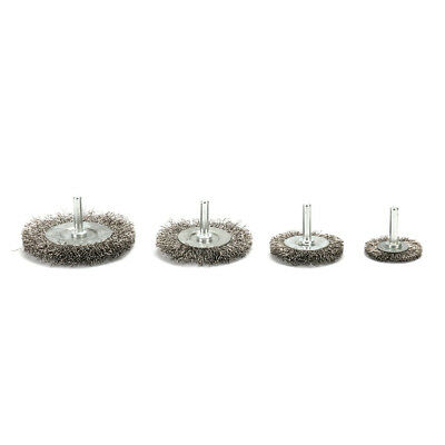 """Crimped Stainless Steel Wire Wheel Polishing Brush Rust Removal 1/4"""" Shank 4Pcs"""