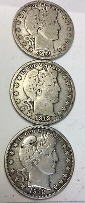 LOT OF (3) - 1912 (D/S) - BARBER HALF DOLLARS - Low Mintage - 90% Silver