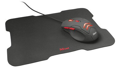 Mouse Trust Gaming Con Pad Tappetino 6 Pulsanti Illuminazione Led Gaming Usb Red