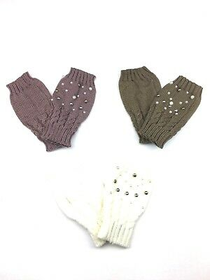 Women's Fingerless Gloves with Faux Pearls