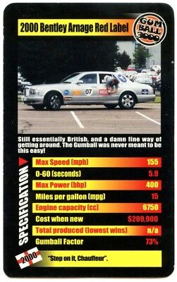 2000 Bentley Arnage Red Label Gumball 3000 Supercars 2003 Top Trumps Card C2163