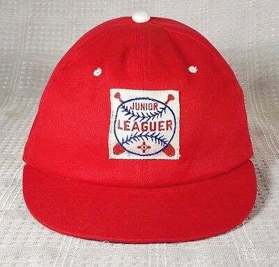 Vintage Red Junior Leaguer Baby/Toddler/Child Baseball Hat Cap New Large