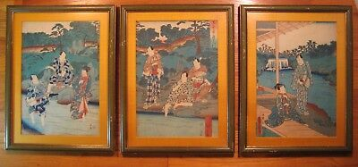 3 Original Japanese Woodblock Prints-Hiroshige/Toyokuni-Otonashi River in Summer