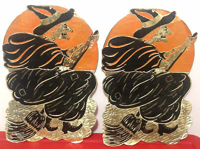 Vintage Lot 2 Die Cut Foil Halloween Cutout Decorations Witch Broom AS IS