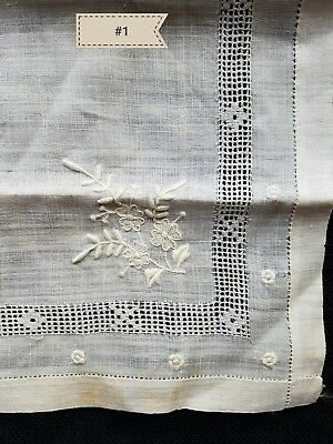 A20 Vintage Hanky Floral Lace Bridal Baptismal Roses Flower Embroidered Hankies