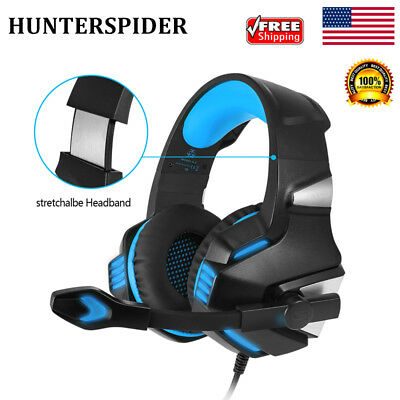 LED Stereo Bass Surround Gaming Headset Headphones Mic For PS4 X-Box PC Laptop