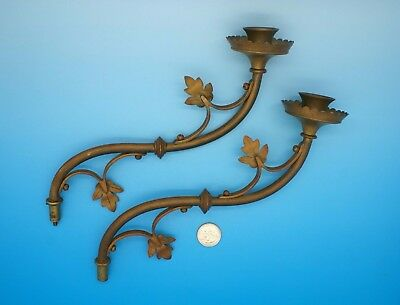 Vintage Candle Wall Sconce Parts - Solid Brass - Matched Pair
