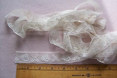 Vtg Cotton  Insertion lace trim 2 yards for Antique French German Bisque  Doll
