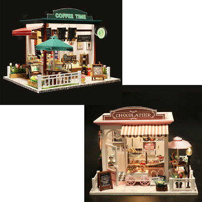 2 Set Wooden Kids Doll House Afternoon Tea Dollhouse Furniture 1:24 scale