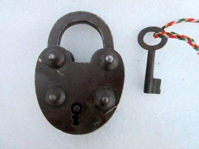 Antique Old Solid Iron Unique Rare Shape Tricky Hide System Open Padlock Lock