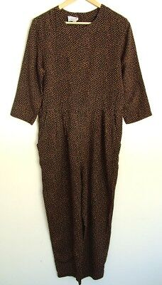 Vintage 80s brown spotted viscose jumpsuit trousers, UK 14 M