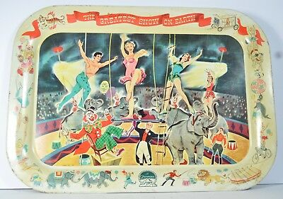 1952 Paramount Pictures Circus Advertising  Tin Tray Sign Nesco