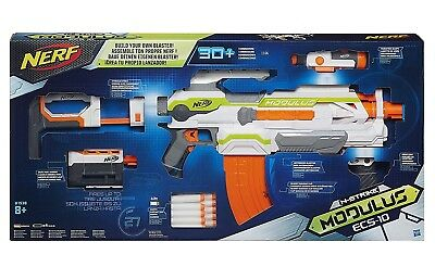 NEW NERF N-Strike Modulus ECS-10 Customizable Blaster Up to 90 Ft! 30+ Combos!