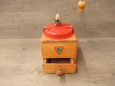 Vintage Peugeot Made in France Coffee Grinder Mill Wooden Box Hand Crank