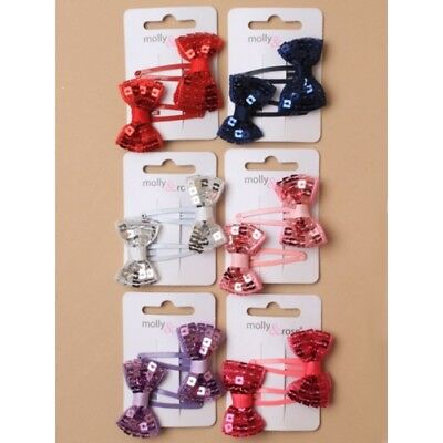 ladies/girls sparkling sequin bow sleepies hair clips in pretty colours, choice