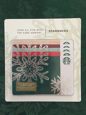 Starbucks Gift Card 2018 NEW Pack of Five (5) Snow Flakes Holiday No $ Value