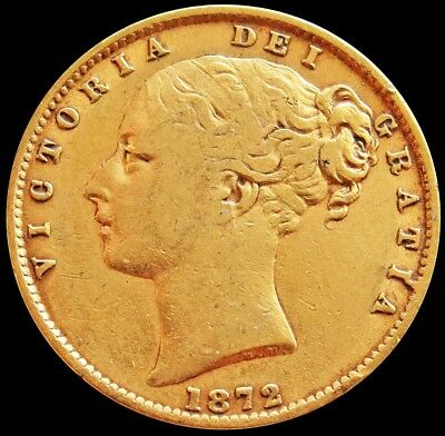 1872 Gold Great Britain 7.981 Grams Sovereign Shield Reverse Young Head Die # 90