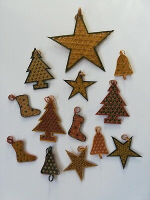 Vintage Christmas ornaments rattan bamboo woven set of 13 from Philippines