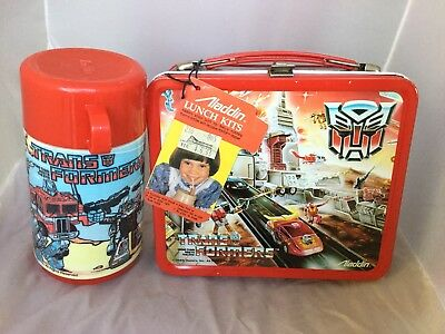 1986 Near Mint Unused Transformers Lunchbox And Thermos With Tag