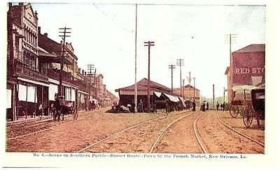 Early 1900's Postcard view Southern Pacific Railway New Orleans LA Sunset Route