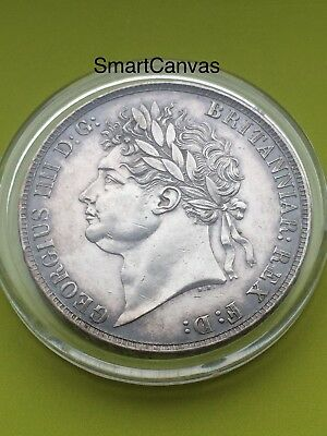 1821 George IV Secundo Silver Milled Crown Coin • UK • GB • British • Beautiful