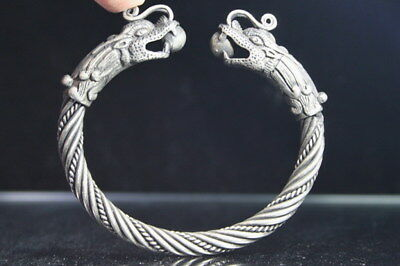 Collectable Decoration Miao Silver Carve Dragon Biting Bead Delicate Bracelet