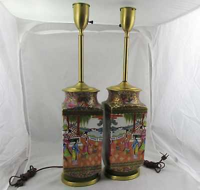 Pair of Large Antique Chinese Famille Rose Porcelain Vase Lamps Floral Scenes
