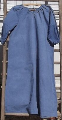 Antique Vintage French Linen Smock Workwear Dress Chore Tunic Woad Blue