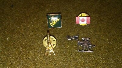 4 Piece France, Canada, Unknown Travel Souvenir Touring Lapel Pin mixed Lot