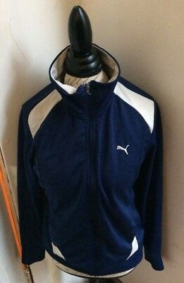 103643d1a70c Puma Mens Track Jacket Warm Up Full Zip White   Navy Blue Size Large