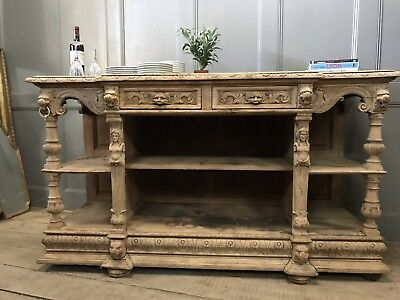 French Antique Gothic Sandblasted Oak Sideboard Buffet Green Man Carving