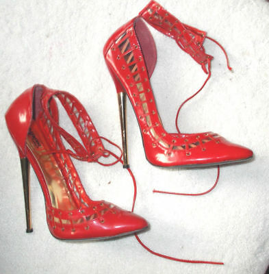 18cm Sexy sky high heels patent red strap pumps gorgeous fetish high heels 12
