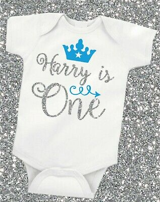 Personalised 1st First Birthday Glitter Baby Boy vest/grow free P&P