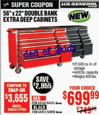 **COUPON** Harbor Freight US General Series 2: 56'' 11 Drawer Cabinet Tool Box