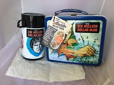 1979 Near Mint Unused Six Million Dollar Man Lunchbox and Thermos With Tag