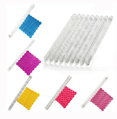 Embossing Acrylic Rolling Pin Fondant Sugar Craft Cake Baking Decorating Tool