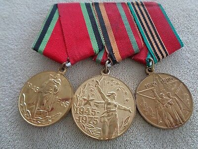 Wwii Ww2 Russia Soviet Ussr 3 Place Ribbon Bar Victory Over Germany Medals
