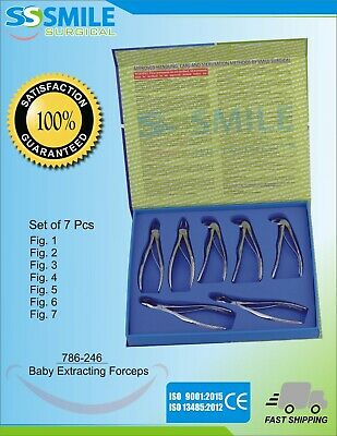 Dental Baby Extracting Forceps Set Of 7 Pieces. Premium Quality CE Marked.