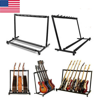 Guitar Stand 3 5 7 9 Holder Guitar Folding Rack Storage Stand Collection Bass US