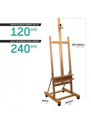 Mont Marte Floor Easel - Large Studio Easel w/Castor Wheels Beech Wood