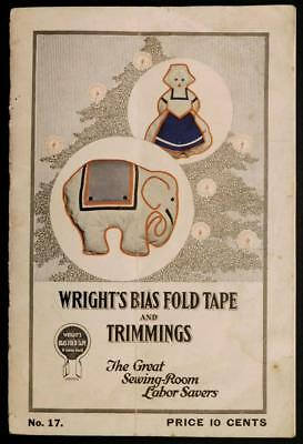 Early  1900's Wright's Bias Fold Tape & Trimmings No.17 Idea Booklet Bk5-S3
