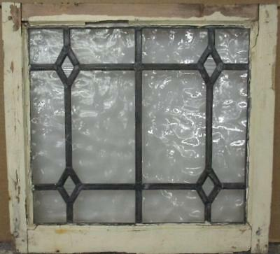 """OLD ENGLISH LEADED STAINED GLASS WINDOW Pretty Diamonds No Color 20.5"""" x 19.25"""""""