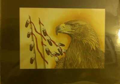 EAGLE FEATHERS Matted Print by Carol Snow Wintercount American Indian Fine Art