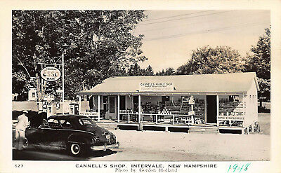 Intervale NH Cannell's Store Esso Gas Station Old Car Real Photo Postcard