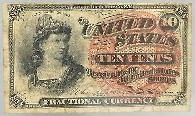 1863 Ten Cent Red Seal United States Fractional Currency