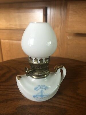 Vintage Porcelain and Glass Miniature Hurricane Oil Lamp San Francisco